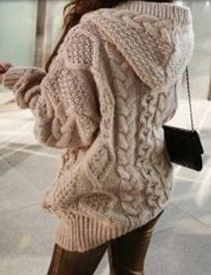 Blouse: cardigan bloggers coat sweater knit knitted ecru white oversized tan cableknit hoodie