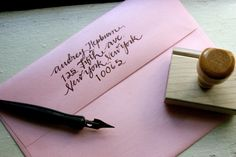 Custom Calligraphy Return Address Stamp-Audrey Style...the hive studio on etsy.  LOVE.