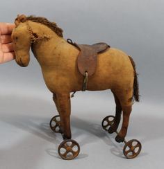 19thC Antique Victorian American Folk Art Primitive Horse Pull Toy, No Reserve
