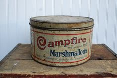 Antique Campfire Marshmallow Tin by cabinwindows on Etsy Vintage Tins, Vintage Kitchen, Vintage Antiques, Campfire Marshmallows, Canning Jar Lids, Spice Tins, Mountain Decor, Tin Containers, Vintage Packaging