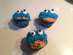 Cookie monster cupcake. Blue Mascarpone buttercream with carrots cake