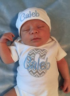 d2702811bcd30 Baby Boy COMING HOME Outfit Take Home Outfit Monogram Newborn Boy outfit  baby shower gift Newborn baby outfit Personalized Baby Hat Beanie