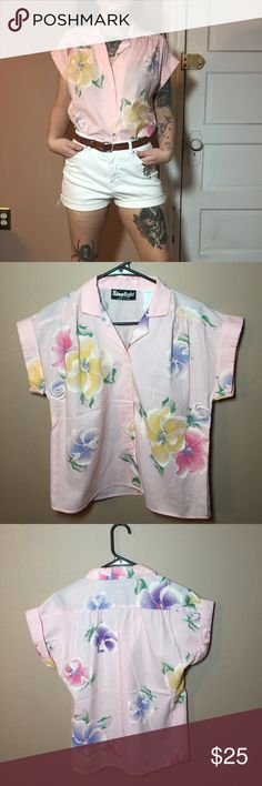 """70s vintage pink hibiscus button down 🔹Amazing vintage pink floral button down shirt 🔹Lovely vintage condition. 🔹Compare your own measurements with the following, to ensure a proper fit! 🔹Bust: 20.5"""" = 41"""" 🔹Length: 20.5"""" 🔹Sleeve width: 8.5"""" 🔹Smoke free home- I do however have cats, but I try my best to ensure a clean product! 🔹Please view all pictures before purchase. 🔹Thanks for viewing! Vintage Tops Button Down Shirts"""