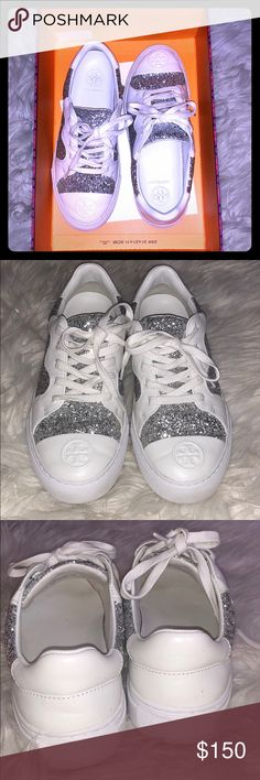 EUC Tory Burch Milo Glitter Sneakers 6.5 Excellent condition (worn twice) Tory Burch Milo Lace-Up Glitter Sneakers. Size 6.5. Box and receipt included. Only selling because I don't like the height of the material on the back, I'm used to wearing mostly sandals. So cute and sold out everywhere! Tory Burch Shoes Sneakers