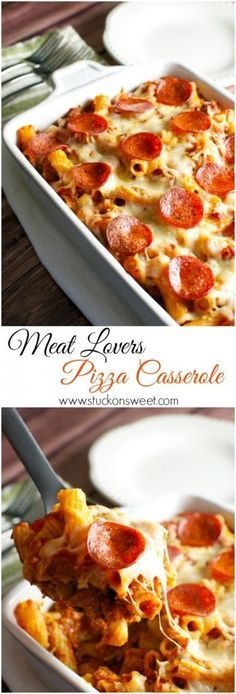 Meat Lovers Pizza Casserole. A family friendly meal that's ready in 30 minutes!   www.stuckonsweet.com