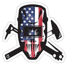"""Welder USA Flag Design"" Stickers by kudostees Welding Logo, Welding Gear, Welding Shop, Welding Art Projects, Welding Crafts, Diy Welding, Metal Welding, Welder Tattoo, Mechanic Tattoo"