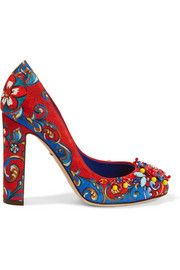 Embellished printed brocade pumps