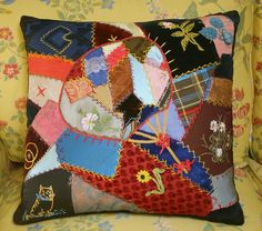 Stunning 19th Century Silk and Velvet Crazy Quilt Pillow - Handpainting, Embroidery. $95.00, via Etsy.
