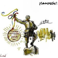 medalla de Oro para Santiago de CALI - World Games 2013 Country, World, Movie Posters, Colombia, Countries, Caricatures, Games, Rural Area, Film Poster