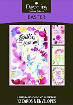 """Easter Blessings Boxed Easter Cards - Northwestern Publishing House - Keep Jesus the focus of your Easter celebration by sending family and friends a beautiful Easter card from DaySpring. Each card features a watercolor floral design, an Easter blessing with NIV Scripture. Box of 12 cards, 3 each of 4 designs; approx. 4.75"""" x 6.75""""."""