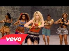 Shakira - Waka Waka (This Time For Africa) ft. Freshlyground (okay, so the dance is hard to see here because it is interrupted with soccer clips, but I already know it. This will just help be a prompt)