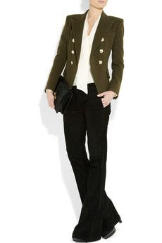 Wool-felt double-breasted military blazer