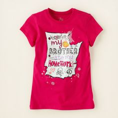 girl - graphic tees - brothers homework graphic tee | Children's Clothing | Kids Clothes | The Children's Place