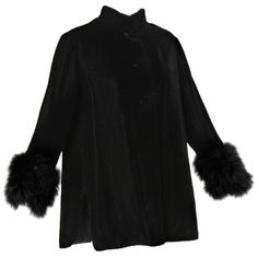 Preowned 1960s Vintage Black Velvet Swing Jacket Or Coat With Marabou... ($275) ❤ liked on Polyvore featuring outerwear, coats, black, leather-sleeve coats, velvet coat, vintage coat, vintage velvet coat and trapeze jacket