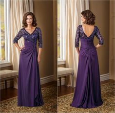 Wow!!  --- Hot Sale Purple V-neck Mother of the Bride Dresses with 3/4 Long Sleeves Beaded Pleated Satin Floor Length A-line Zipper Groom Mum Dress Hot from Marrysa,$132.5 | DHgate.com