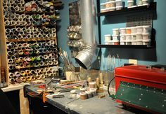 Fusion recently highlighted the studios of their artists and I wanted to give you an in-depth tour of mine. The first pic is my semi-clean workbench where I create my glass beads. I keep the glass … Studio Setup, Studio Ideas, Studio Design, Home Studio, Studio Spaces, Bead Studio, Craft Show Displays, Display Ideas, Villa Design
