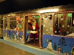 Chicago holiday train on the orange and brown lines.hoping to get a pic with Santa handing out candycanes and start the tradition. Holiday Train, Christmas Train, Christmas Past, Winter Christmas, Christmas Vacation, Xmas, Chicago Christmas, Visit Chicago, Trains