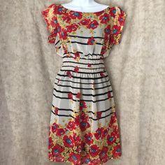 Aryeh floral & striped chiffon dress size junior L Multi color. Black white red yellow blue Aryeh Dresses Mini