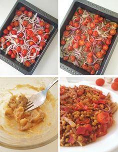 ensalada de lentejas con tomate y ajo asados