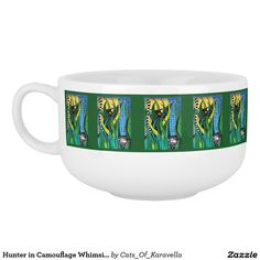 Hunter in Camouflage Whimsical Cat Art Soup Mug. Cat Art by Cats of Karavella, Cat painting by Dora Hathazi Mendes. Cat Gifts for #catlovers by #dorahathazi