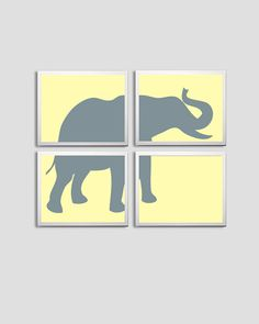 So digging this! I think I'll do this in lieu of the giraffe one--Nursery Art Boy Girl Elephant Safari Zoo Circus by ZeppiPrints, $48.00