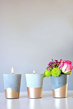 33 DIY candle holders to light up your world - concrete candle holder - . - 33 DIY candle holders to light up your world – concrete candle holders – # di - Cheap Candle Holders, Concrete Candle Holders, Velas Diy, Diy Candles, Candle Vases, Glass Candle, Concrete Crafts, Diy Centerpieces, Decoration