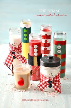 Christmas Gift Idea - Super cute Christmas Candles Tutorial at the36thavenue.com
