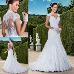 Vintage Wedding Dresses Full Lace 2016 Mermaid Queen Anne Neckline Sheer Covered Button Sequin Plus Size Spring Fall Elegant Bridal Gowns