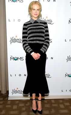 Nicole Kidman in a silver striped Michael Kors collection top and fluted midi skirt