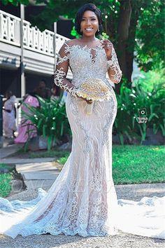 Gorgeous Long Sleeve Applique Beaded Open Back Mermaid Wedding Dress Plus Size Bridal Dresses, Plus Wedding Dresses, Open Back Wedding Dress, Plus Size Wedding, Cheap Wedding Dress, Prom Dresses, Beaded Dresses, Modest Wedding, Evening Dresses