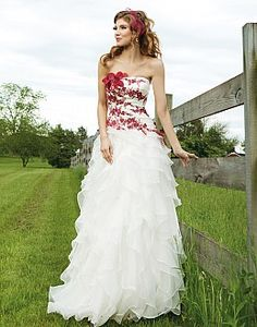 Red and white wedding gown with ruffled skirt