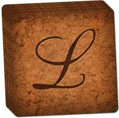 "Amazon.com: Custom & Cool {4"" Inches} Set Pack of 4 Square ""Grip Texture"" Drink Cup Coaster Made of Cork w/ Elegant and Personalized Home Decor Fancy Script Letter L Initial Design [Beige & Brown Colors]: Home & Kitchen"