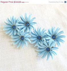Vintage Large Blue Soft Plastic and Blue Rhinestones Flower clip Earrings by MyVintageJewels, $12.25