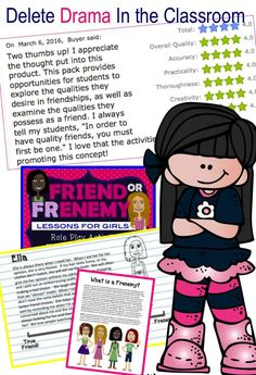 This friendship pack helps girls distinguish between true friends and frenemies. Teachers and Counselors can use these activities to reduce classroom drama and promote healthy friendships. Includes: Role Play Activities The Friendship Scale Behavior Matc Elementary School Counseling, School Counselor, School Teacher, Friendship Lessons, Friendship Activities, Friendship Group, Counseling Activities, Group Counseling, Feelings Activities
