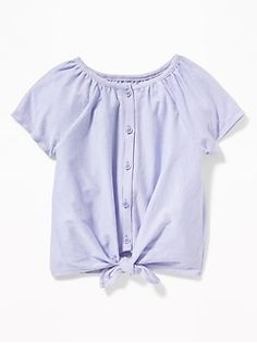 d2c047e5ac71 Button-Front Tie-Hem Jersey Top for Toddler Girls Girls Clothes Shops