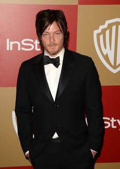 norman reedus in a freaking bow tie