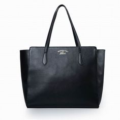 7ab04b9a88e Gucci Swing Leather Tote Black Cheap Handbags