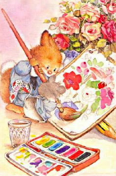 Postcard Lisi Martin Hare and Maud Paint a Picture Flowers RARE Cute Animal Illustration, Graphic Illustration, Animal Illustrations, Cute Images, Cute Pictures, Spring Painting, Vintage Greeting Cards, Penny Black, Decoupage