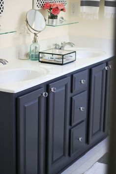 'Gray' by ben moore - My Painted Bathroom Vanity Before and After | Two Delighted