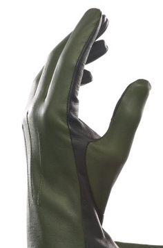 Zweifarbiger Handschuh aus Leder - drab olive / schwarz - €79.00