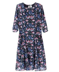 Retro Style Flower Print Dress With Large Hem