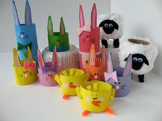 Recycle toilet paper or paper towel cardboard tubes into these cute Easter characters!