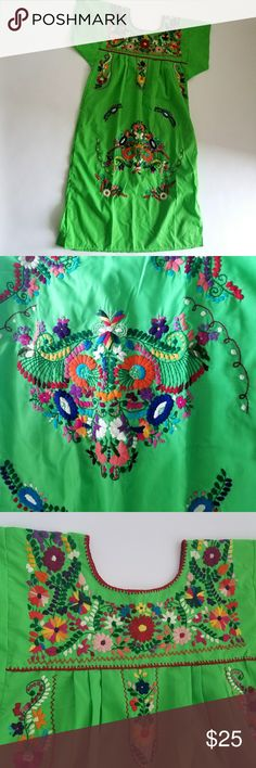"Green Embroidered Mexican Dress Colorful green dress with embroidered art. Size large but can also fit smaller sizes that like more of a loose fit! Minor wear as shown in photos.   Armpit to armpit: 21.5"" Length: 45.5""  MF28 Dresses Maxi"