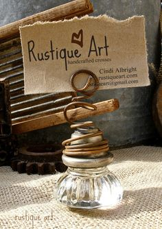 Vintage Glass Door Knob Photo Holder by rustiqueart on Etsy