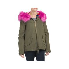 Military Jacket With Faux Fur ($70) ❤ liked on Polyvore featuring outerwear, jackets, military button jacket, army jackets, fake fur jacket, faux fur collar jacket and military jackets