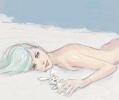 manga, anime, comics, sexy, female, woman, blue hair, bunny, doll, cute
