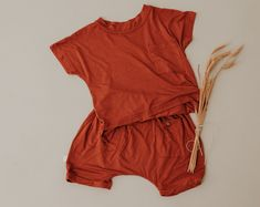 Buttery Soft and Comfy Bamboo Rust Box Tee and Harem Pants Wardrobe Staples, Boy Fashion, Horns, Rust, Halo, Harem Pants, Bamboo, Rompers, Comfy