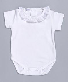 Look at this #zulilyfind! White Ruffle Short-Sleeve Pima Bodysuit - Infant & Toddler #zulilyfinds