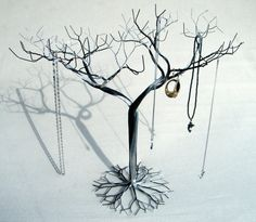 Large Hybrid Jewelry tree Stand. Jewelry holder organizer , tall for necklaces and earrings , wire tree