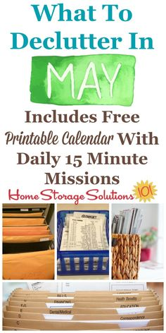 Free printable May decluttering calendar with daily 15 minute missions, listing exactly what you should declutter this month. Follow the entire Declutter 365 plan provided by Home Storage Solutions 101 to declutter your whole house in a year.